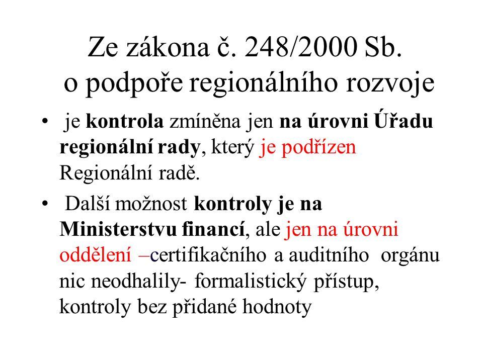 Ze zákona č. 248/2000 Sb. o podpoře regionálního rozvoje