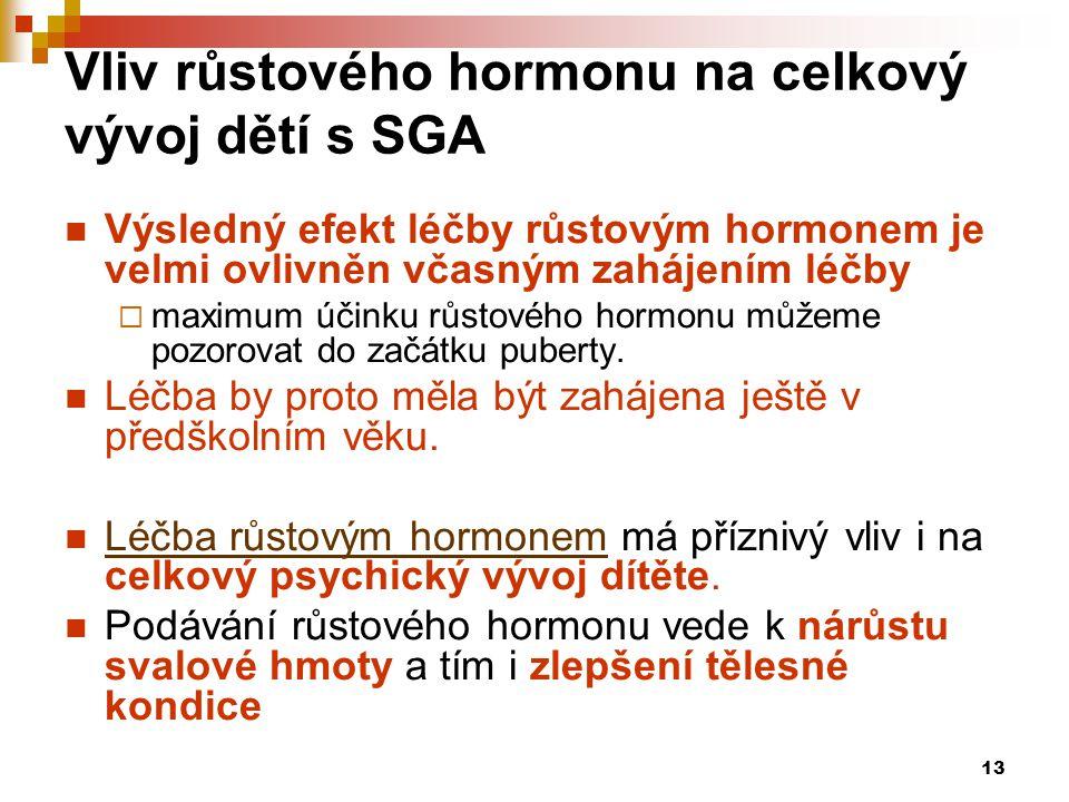 Vliv růstového hormonu na celkový vývoj dětí s SGA