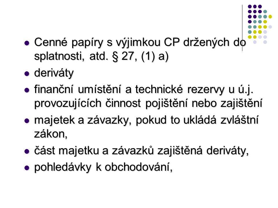 Cenné papíry s výjimkou CP držených do splatnosti, atd. § 27, (1) a)