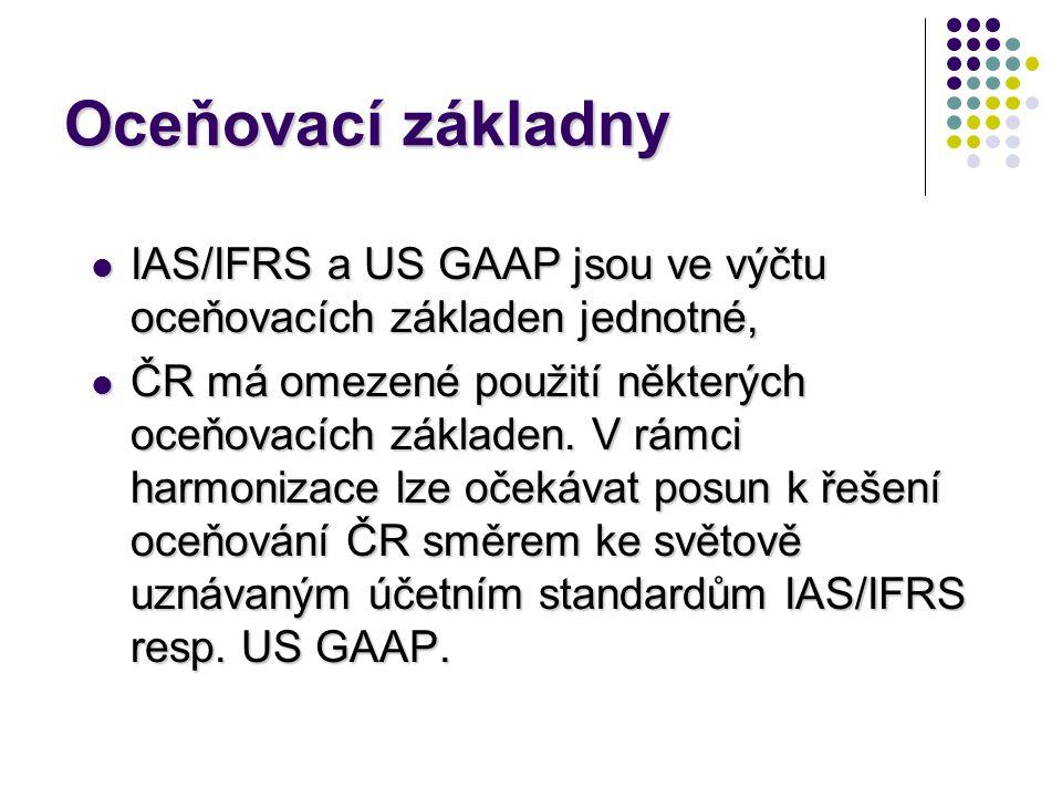 Oceňovací základny IAS/IFRS a US GAAP jsou ve výčtu oceňovacích základen jednotné,