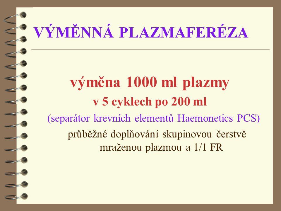 průběžné doplňování skupinovou čerstvě mraženou plazmou a 1/1 FR