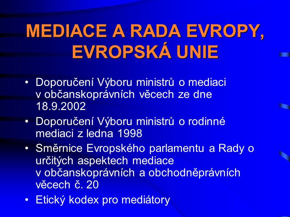 MEDIACE A RADA EVROPY, EVROPSKÁ UNIE
