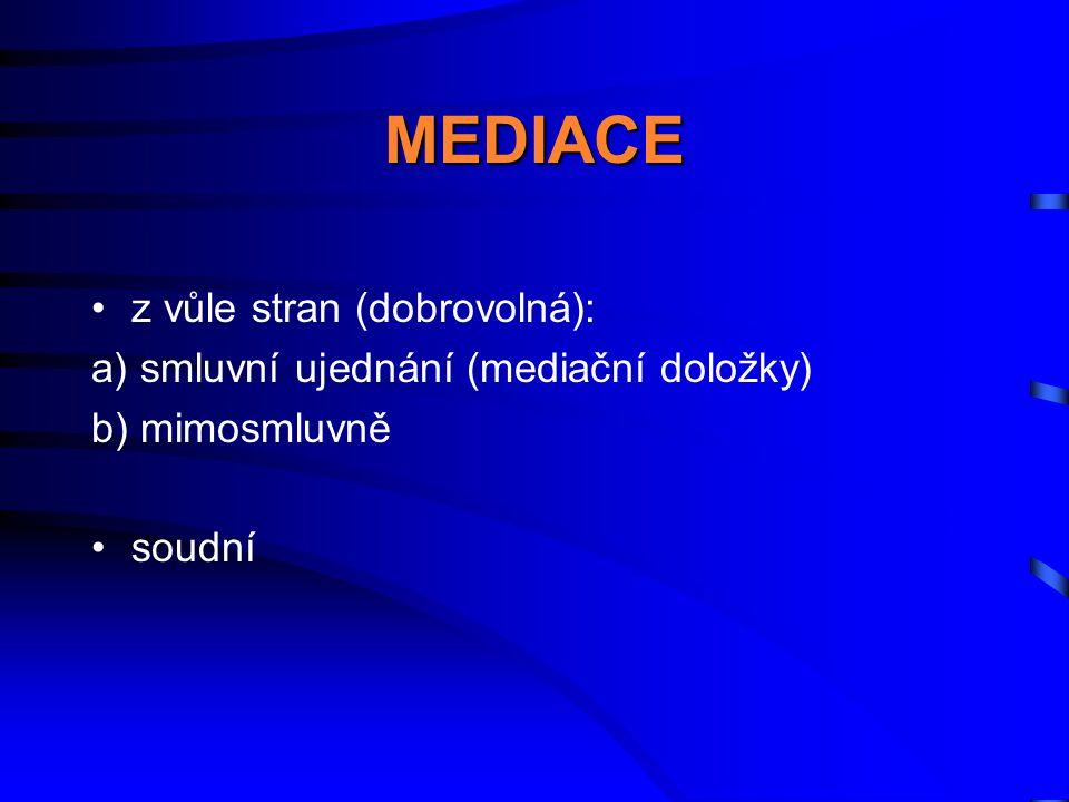 MEDIACE z vůle stran (dobrovolná):
