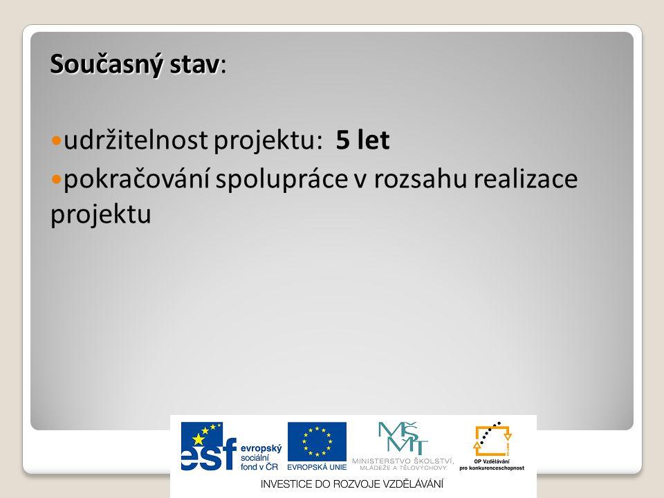 Současný stav: udržitelnost projektu: 5 let pokračování spolupráce v rozsahu realizace projektu