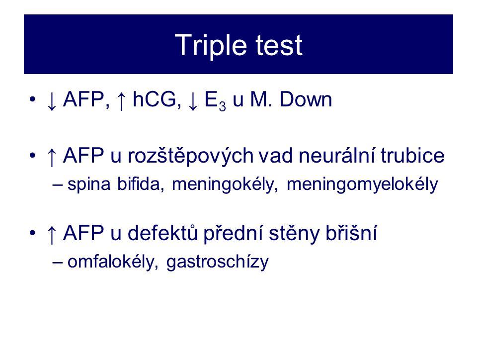 Triple test ↓ AFP, ↑ hCG, ↓ E3 u M. Down