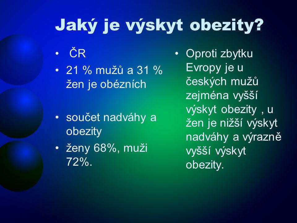 Jaký je výskyt obezity ČR 21 % mužů a 31 % žen je obézních