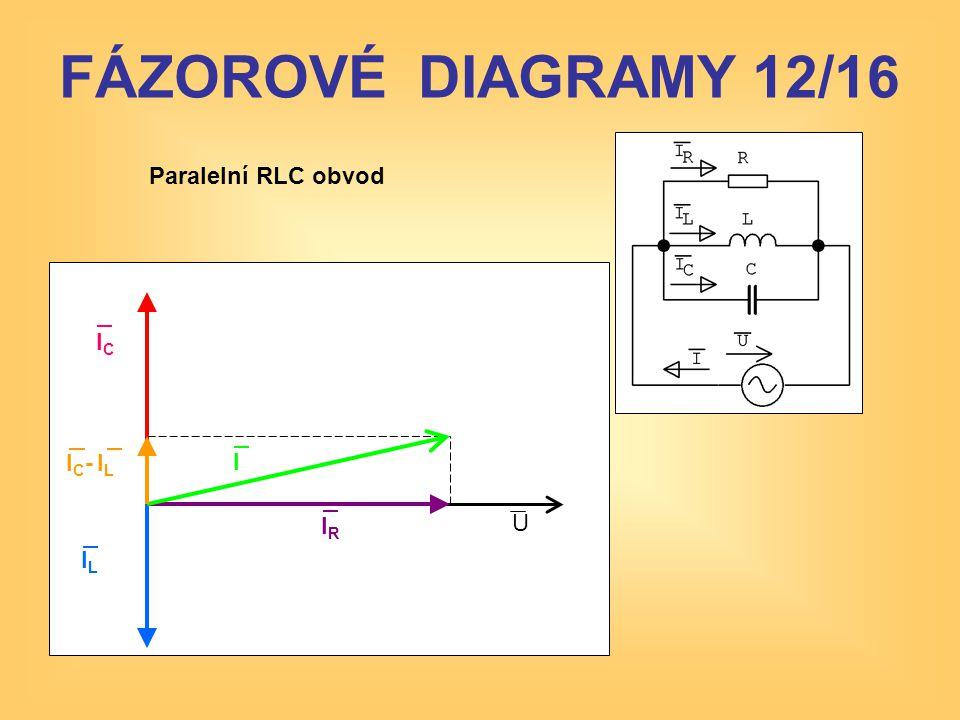 FÁZOROVÉ DIAGRAMY 12/16 Paralelní RLC obvod IC IC- IL I IR U IL