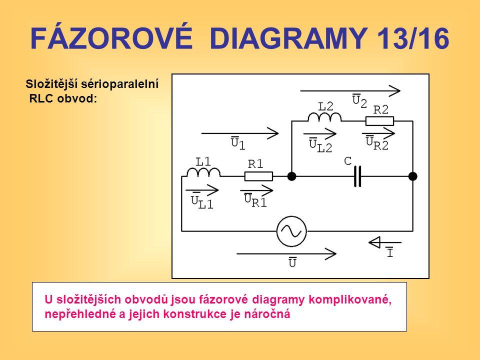 FÁZOROVÉ DIAGRAMY 13/16 Složitější sérioparalelní RLC obvod:
