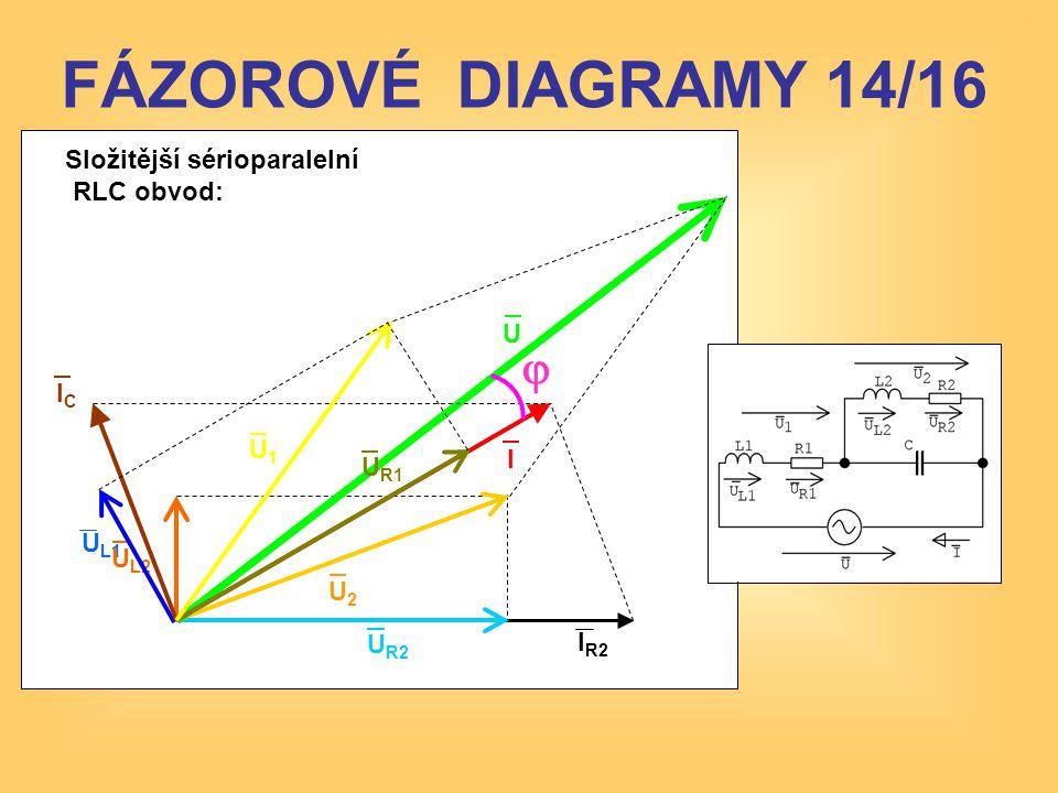 FÁZOROVÉ DIAGRAMY 14/16 j Složitější sérioparalelní RLC obvod: U IC U1