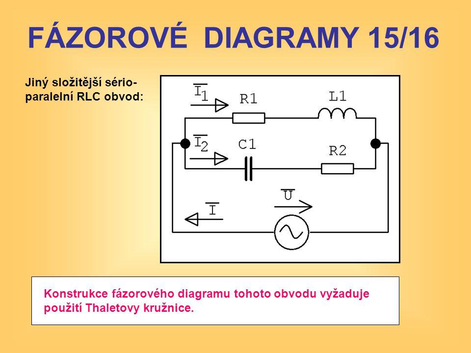 FÁZOROVÉ DIAGRAMY 15/16 Jiný složitější sério- paralelní RLC obvod: