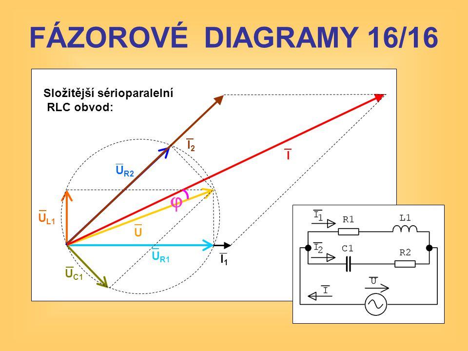 FÁZOROVÉ DIAGRAMY 16/16 j Složitější sérioparalelní RLC obvod: I2 I