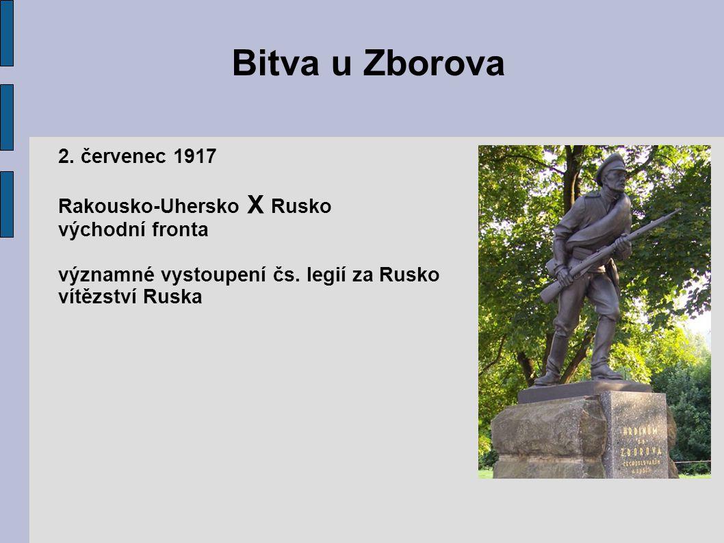 Bitva u Zborova 2. červenec 1917 Rakousko-Uhersko X Rusko