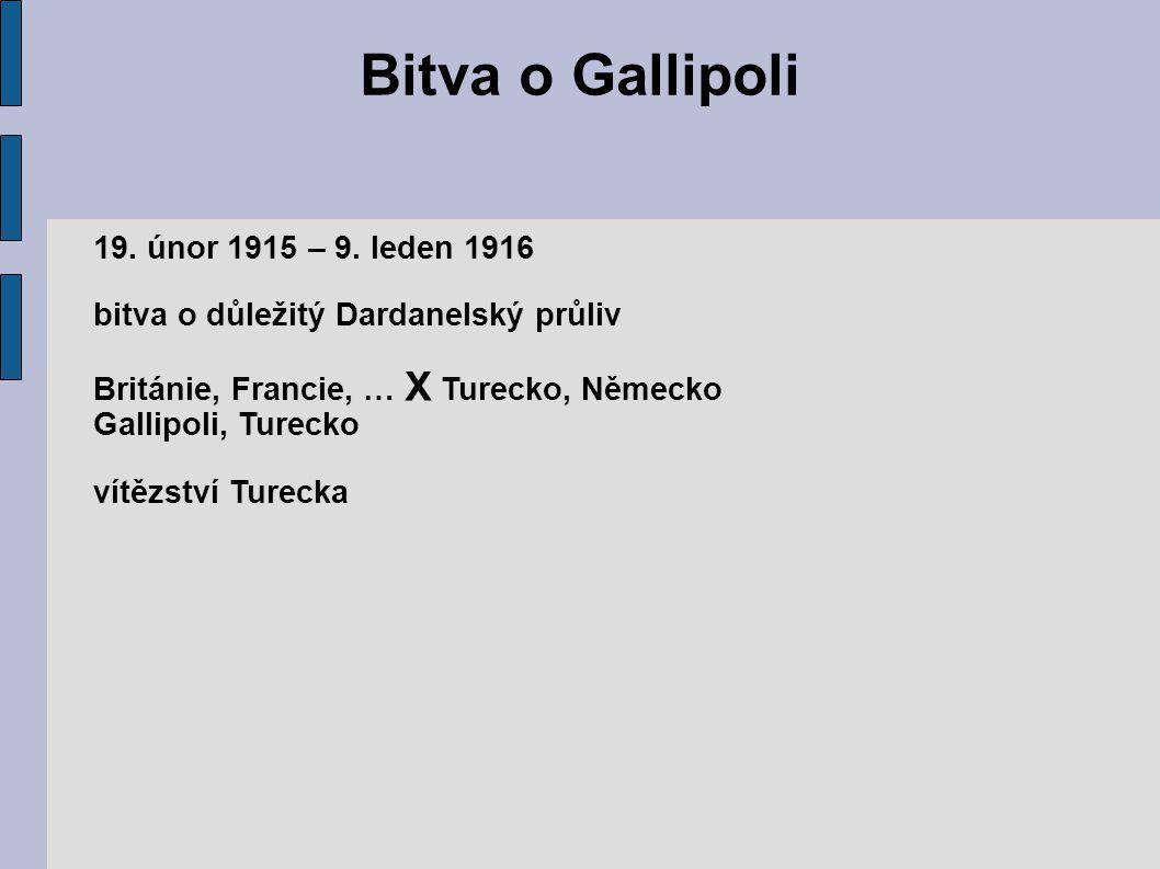 Bitva o Gallipoli 19. únor 1915 – 9. leden 1916