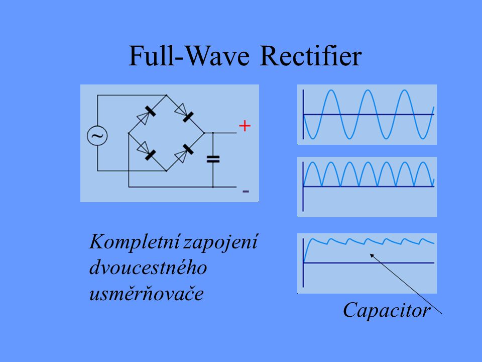 Full-Wave Rectifier Kompletní zapojení dvoucestného usměrňovače