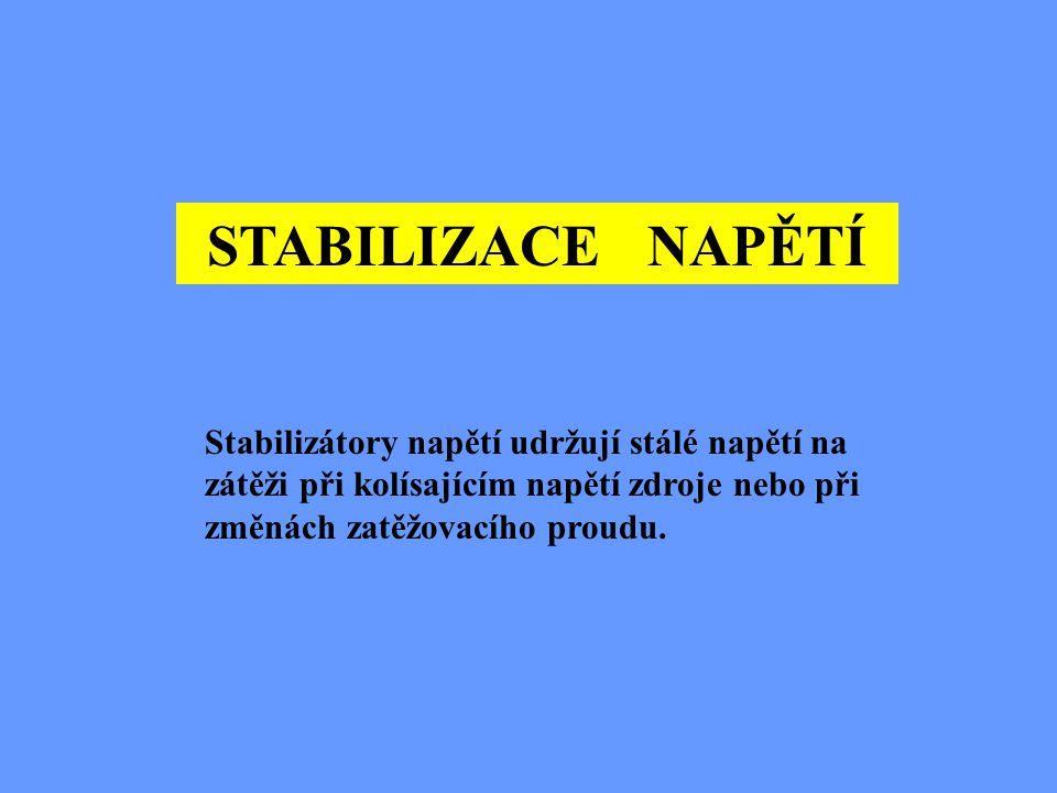 STABILIZACE NAPĚTÍ Stabilizátory napětí udržují stálé napětí na zátěži při kolísajícím napětí zdroje nebo při změnách zatěžovacího proudu.