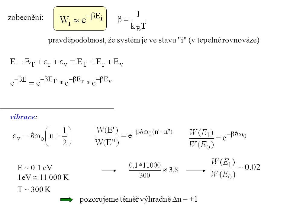 zobecnění: pravděpodobnost, že systém je ve stavu i (v tepelné rovnováze) vibrace: E ~ 0.1 eV. 1eV  11 000 K.