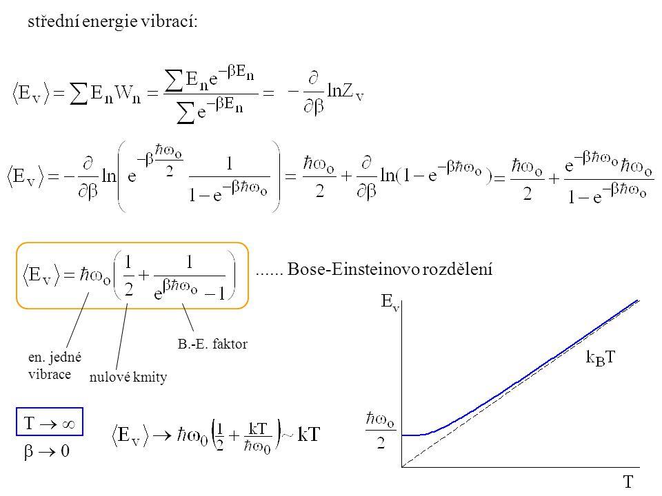 střední energie vibrací: