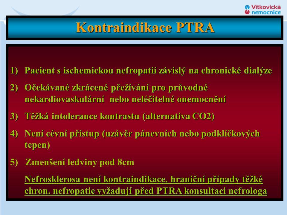 Kontraindikace PTRA Pacient s ischemickou nefropatií závislý na chronické dialýze.
