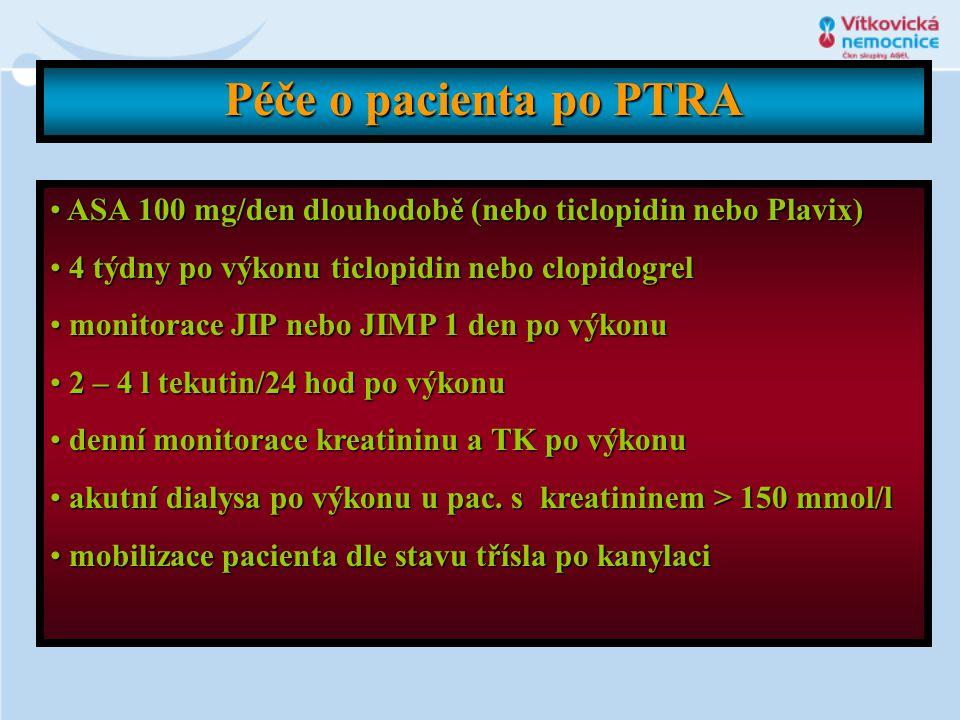 Péče o pacienta po PTRA ASA 100 mg/den dlouhodobě (nebo ticlopidin nebo Plavix) 4 týdny po výkonu ticlopidin nebo clopidogrel.