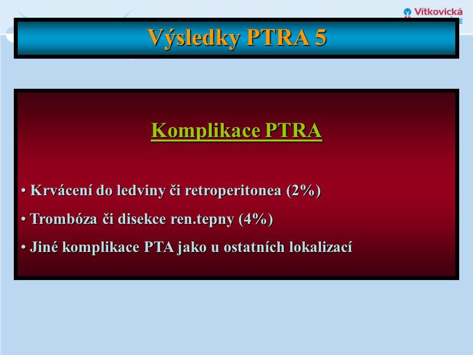 Výsledky PTRA 5 Komplikace PTRA