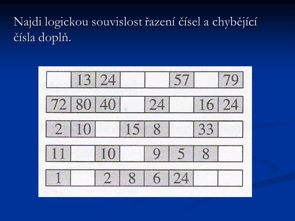 Najdi logickou souvislost řazení čísel a chybějící čísla doplň.