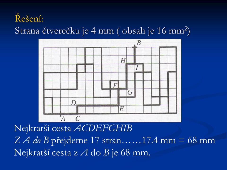 Řešení: Strana čtverečku je 4 mm ( obsah je 16 mm2)