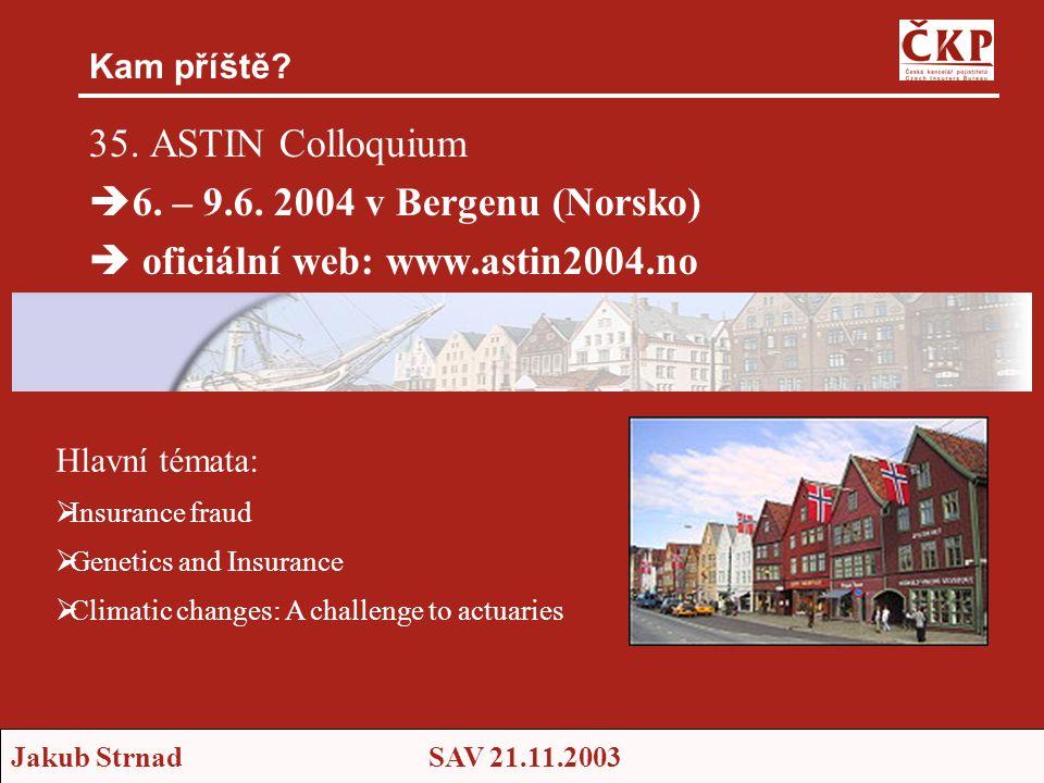 35. ASTIN Colloquium 6. – 9.6. 2004 v Bergenu (Norsko)
