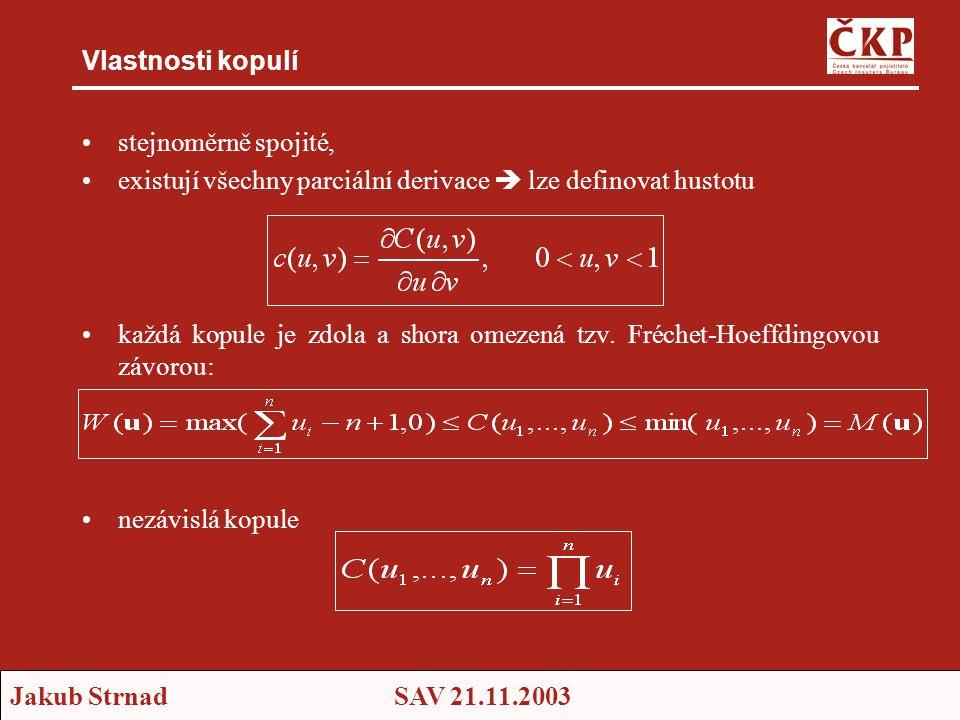 Vlastnosti kopulí stejnoměrně spojité, existují všechny parciální derivace  lze definovat hustotu.
