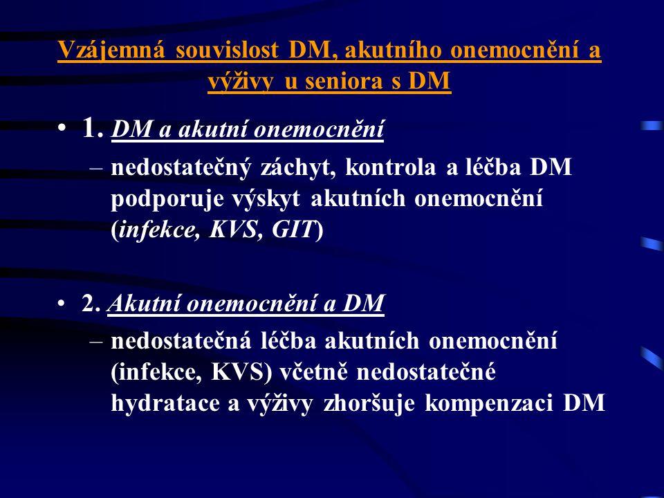 Vzájemná souvislost DM, akutního onemocnění a výživy u seniora s DM