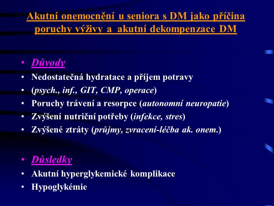 Akutní onemocnění u seniora s DM jako příčina poruchy výživy a akutní dekompenzace DM