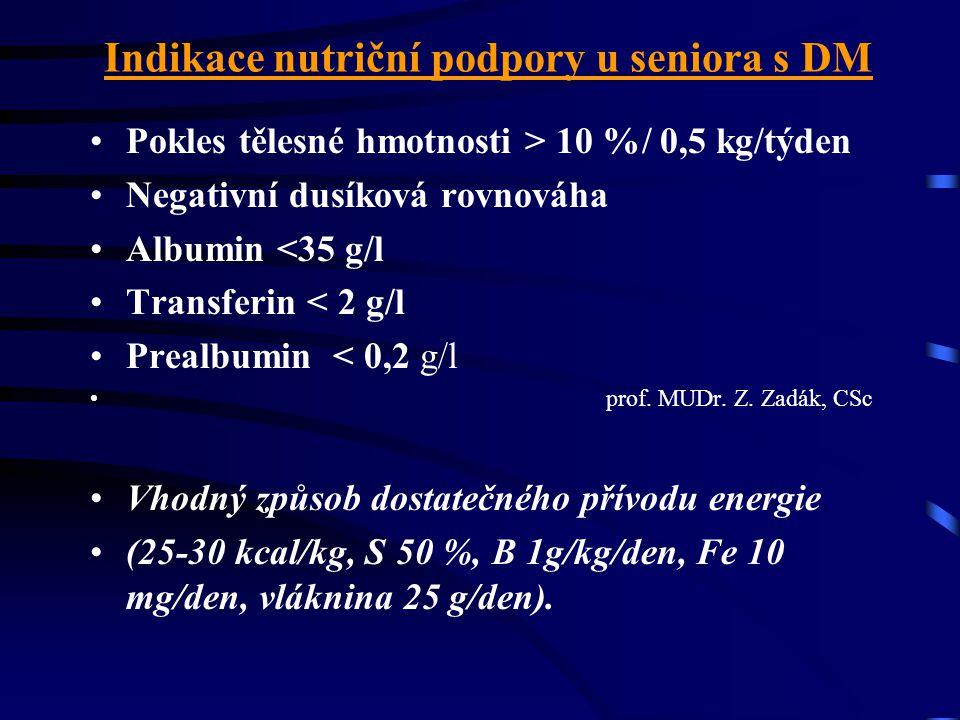 Indikace nutriční podpory u seniora s DM