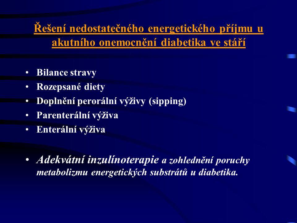 Řešení nedostatečného energetického příjmu u akutního onemocnění diabetika ve stáří