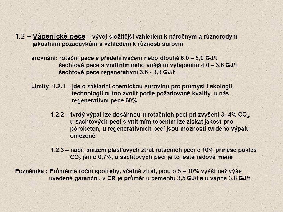 1.2 – Vápenické pece – vývoj složitější vzhledem k náročným a různorodým