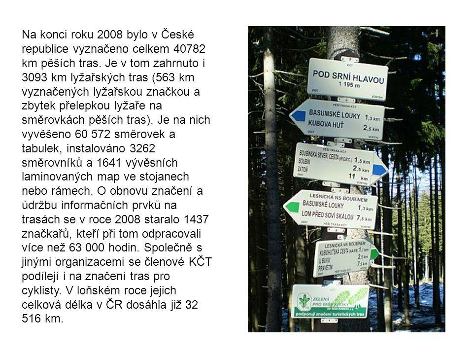 Na konci roku 2008 bylo v České republice vyznačeno celkem 40782 km pěších tras.