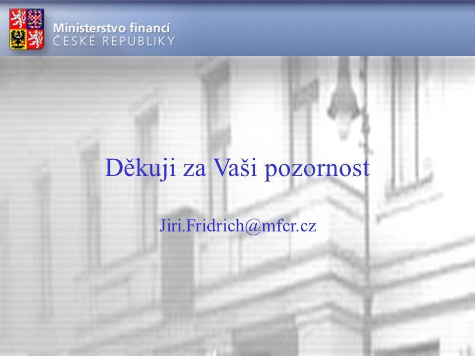 Děkuji za Vaši pozornost Jiri.Fridrich@mfcr.cz