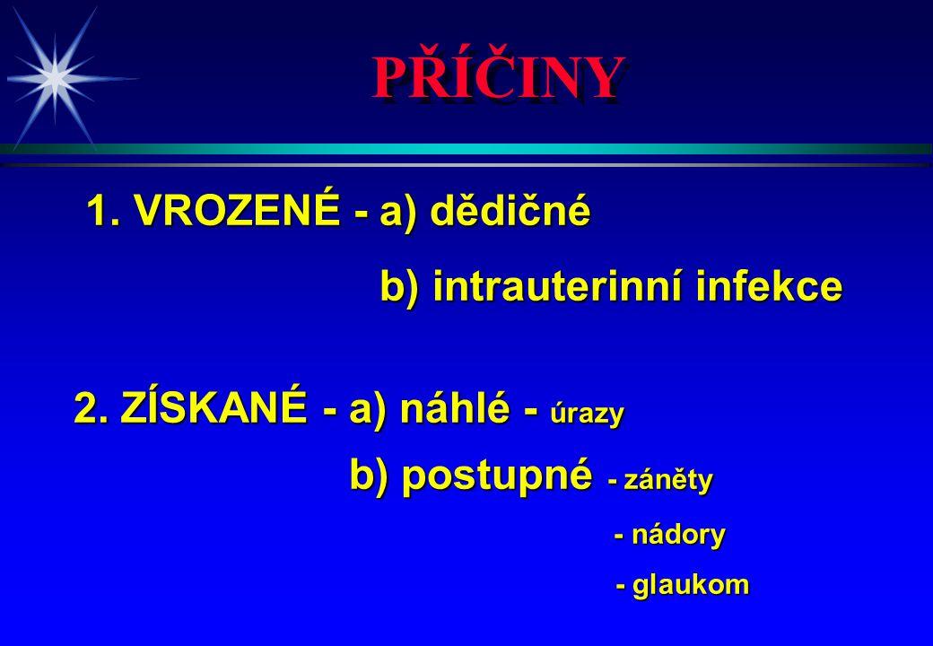 PŘÍČINY 1. VROZENÉ - a) dědičné b) intrauterinní infekce