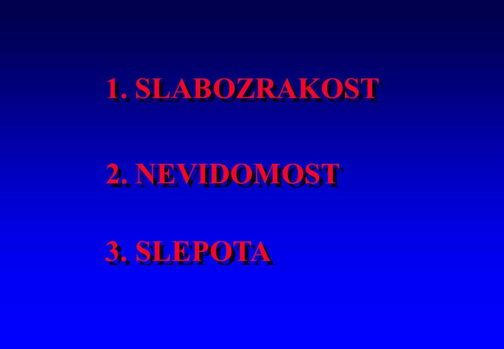 1. SLABOZRAKOST 2. NEVIDOMOST 3. SLEPOTA 4