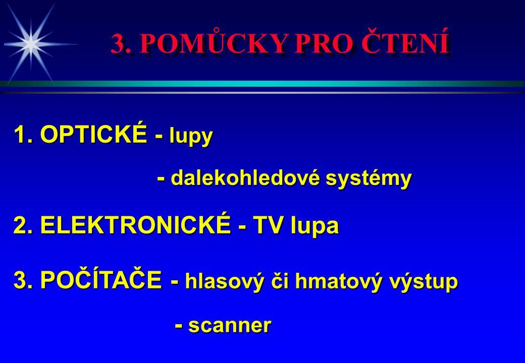 3. POMŮCKY PRO ČTENÍ 1. OPTICKÉ - lupy 2. ELEKTRONICKÉ - TV lupa