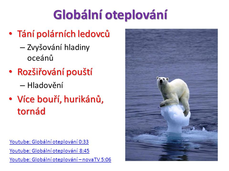 Globální oteplování Tání polárních ledovců Rozšiřování pouští