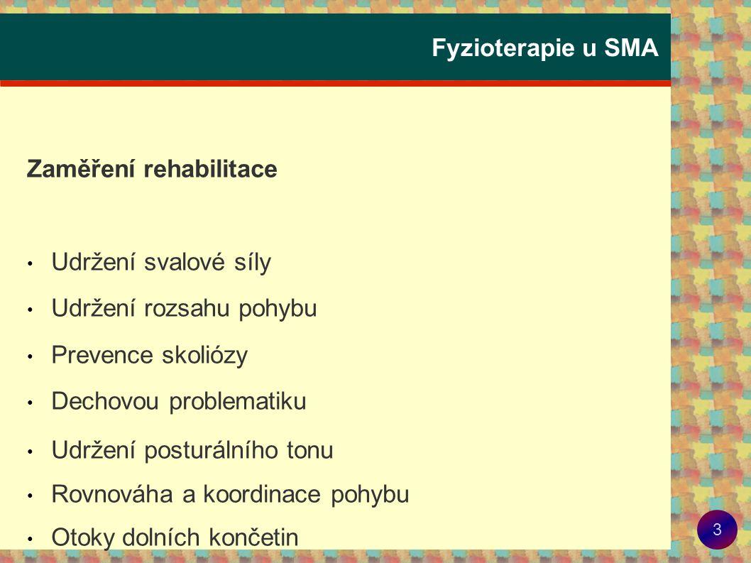 Fyzioterapie u SMA Zaměření rehabilitace. Udržení svalové síly. Udržení rozsahu pohybu. Prevence skoliózy.