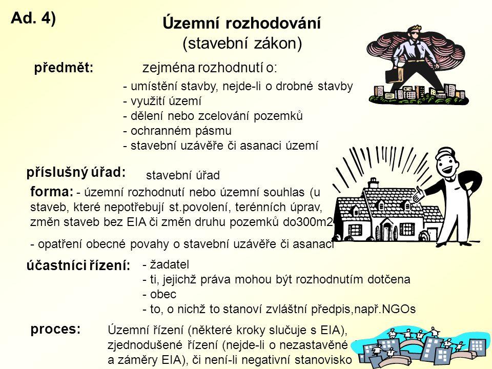 Ad. 4) Územní rozhodování (stavební zákon) předmět:
