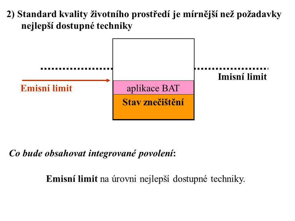 2) Standard kvality životního prostředí je mírnější než požadavky nejlepší dostupné techniky