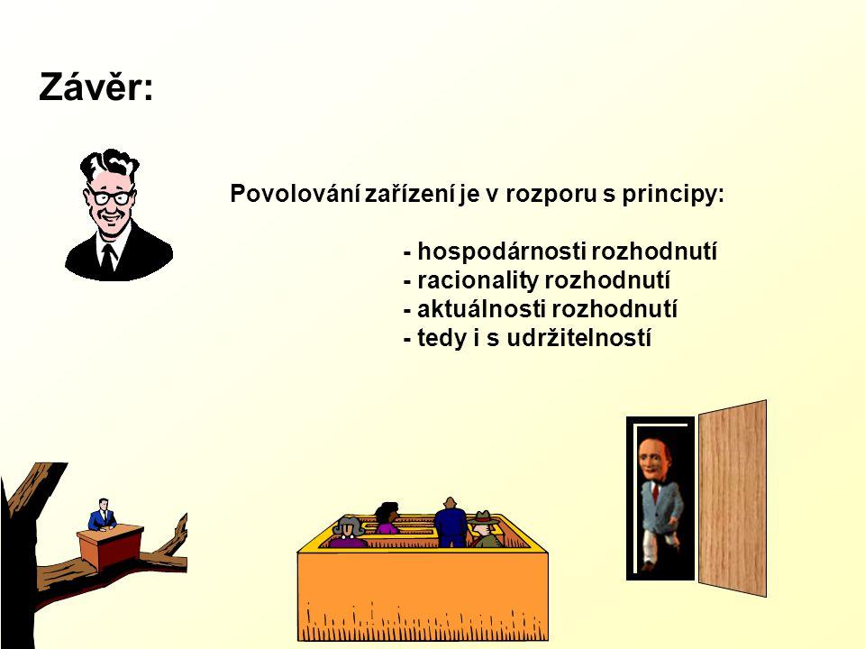 Závěr: Povolování zařízení je v rozporu s principy: