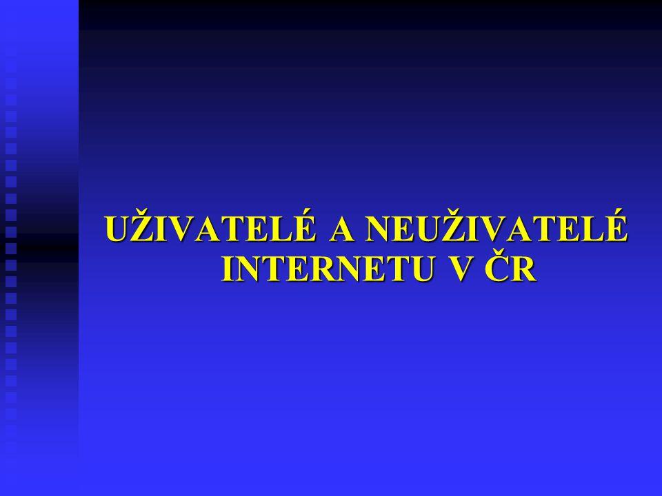UŽIVATELÉ A NEUŽIVATELÉ INTERNETU V ČR