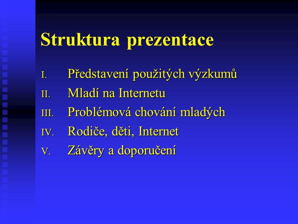 Struktura prezentace Představení použitých výzkumů Mladí na Internetu