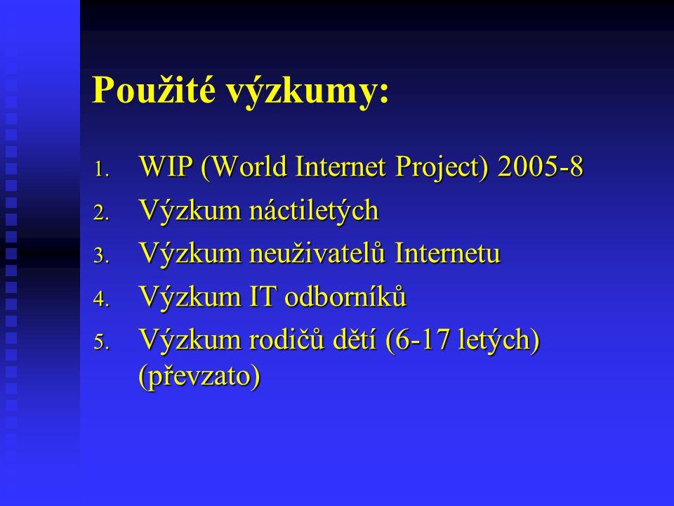 Použité výzkumy: WIP (World Internet Project) 2005-8