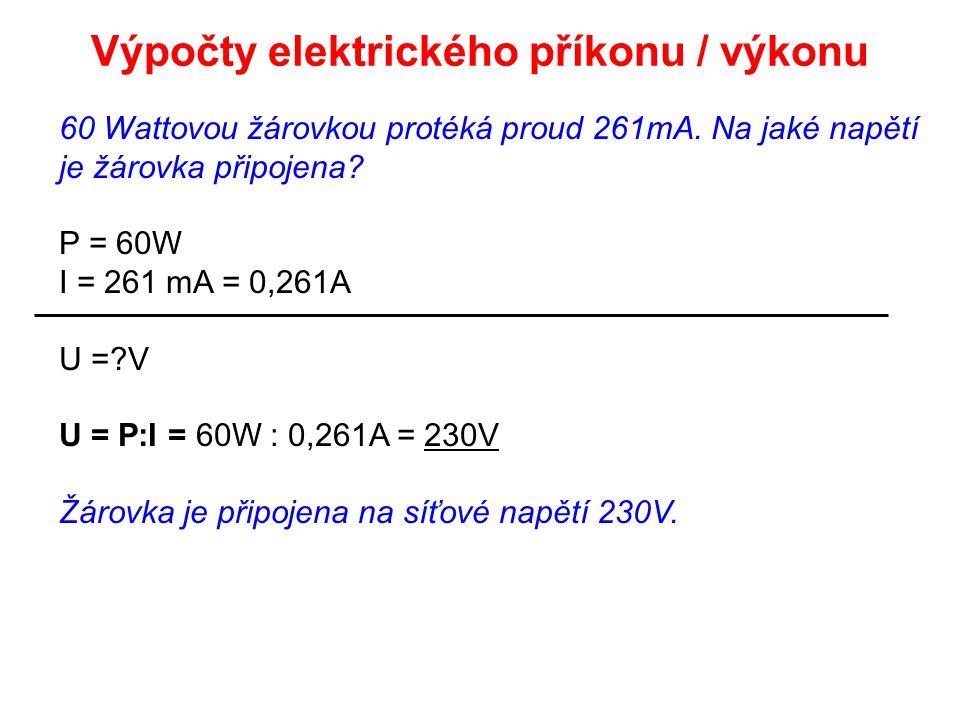 Výpočty elektrického příkonu / výkonu