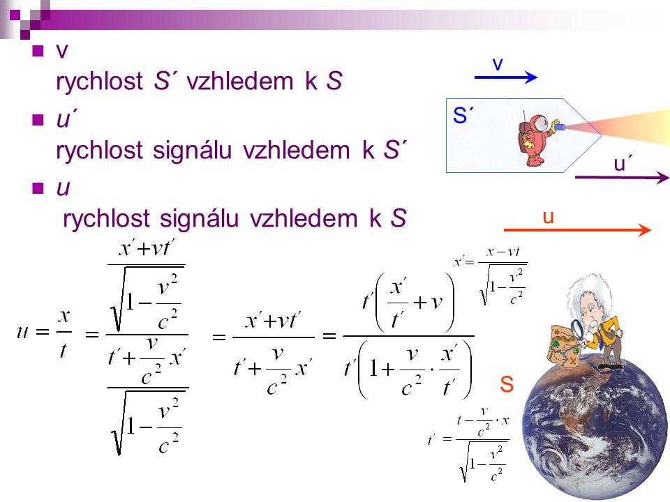 v rychlost S´ vzhledem k S u´ rychlost signálu vzhledem k S´