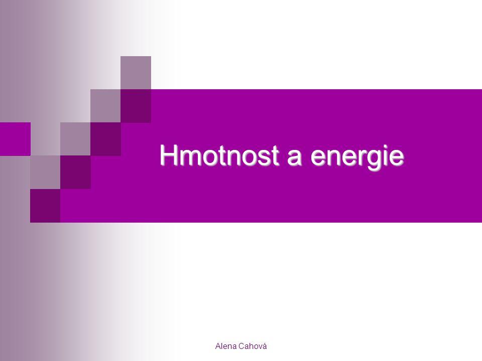 Hmotnost a energie Alena Cahová