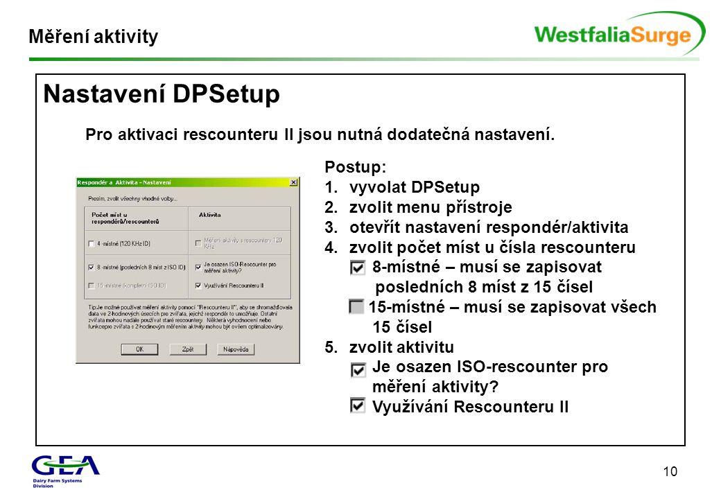 Nastavení DPSetup Měření aktivity
